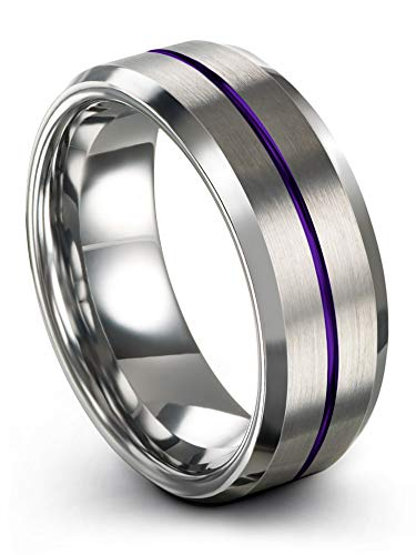 Chroma Color Collection Tungsten Carbide Wedding Band Ring 8mm for Men Women Purple Center Line Grey Interior with Beveled Edge Brushed Polished Comfort Fit Anniversary Size 10