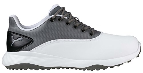 PUMA Golf Men's Grip Fusion Golf Shoe, White/Quiet Shade/Black, 12 Medium US