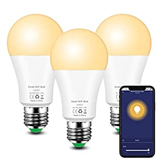 Smart Light Bulb E26 Alexa Light Bulbs 13W Equivalent 100W Halogen, WiFi LED Light Bulb Dimmable Compatible with Alexa Echo Google Home Assistant, 1050LM, Soft White 2700K, No Hub Required - 3 Pack