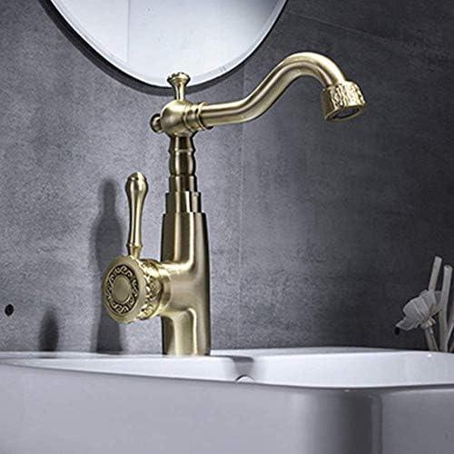 ZT-TTHG 実用的な金属ブラシゴールドアンティーク蛇口銅の浴室の洗面台温水と冷水の上カウンター盆地ヨーロッパのアンティーク彫刻蛇口セット美しいです