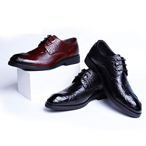 stile pelle uomo Yao EU in coccodrillo Scarpe moda alta Black Brown da Size oxford casual di modello 41 Color casual WwqYwFzR