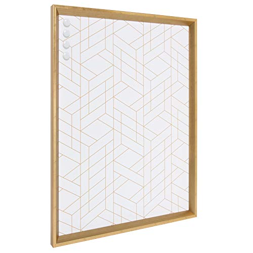Kate and Laurel Calter Framed Decorative Magnetic Bulletin Board with Modern Geometric Design, 21.5x27.5, - Cork Magnetic Board