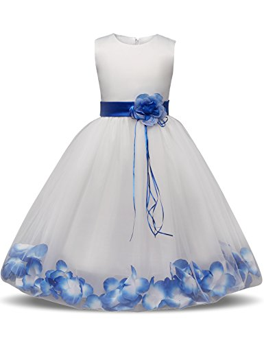 NNJXD Girl Tutu Flower Petals Bow Bridal Dress for Toddler Girl Size (130) 5-6 Years Big Blue