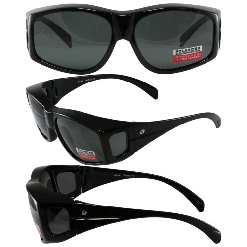Birdz Eyewear Beak Sunglass: Black Lenses with 1.1mm Polarized Smoke Lenses That Improve Vision By Reducing - Glare Sunglasses Reducing