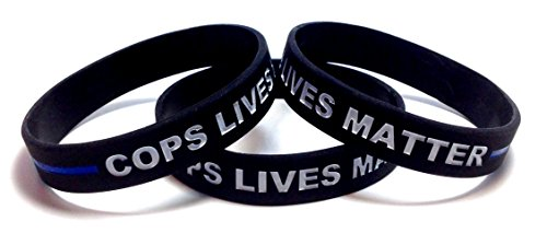 3 Pack of COPS LIVES MATTER Thin Blue Line Rubber Wristband Silicone Bracelet (Black, Adult (8