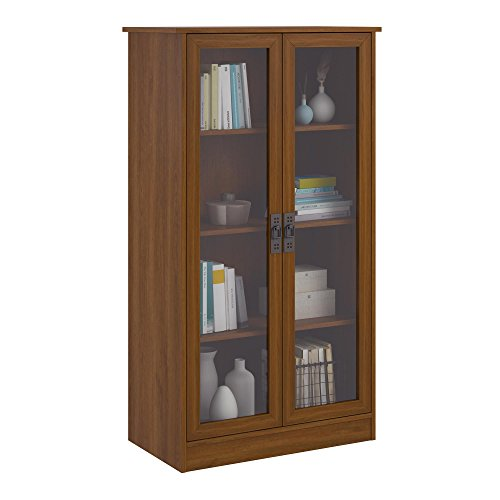 Door 4 Shelf Barrister Bookcase (Ameriwood Home Quinton Point Bookcase with Glass Doors, Inspire Cherry)