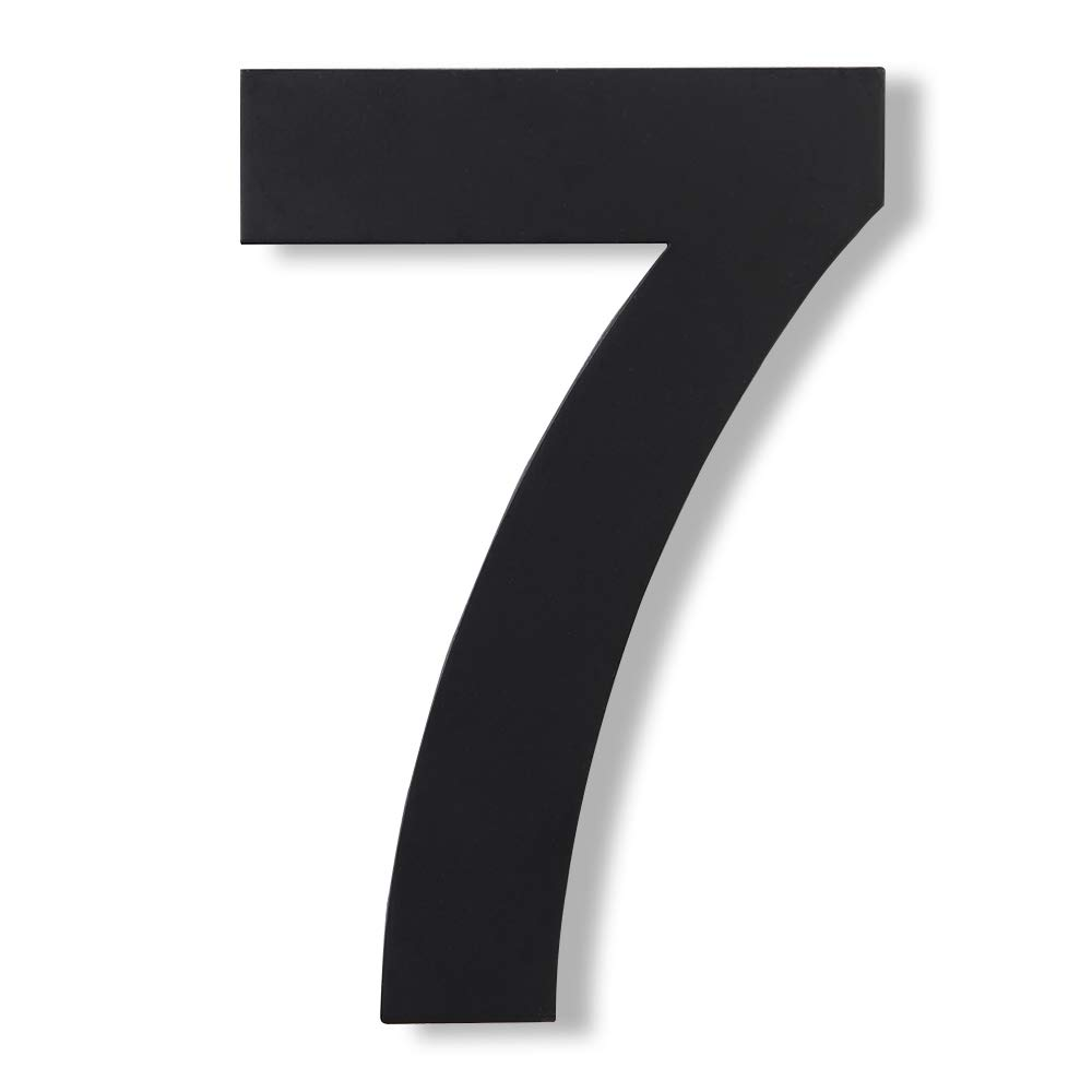 Mellewell Modern Floating House Numbers, Large 8 Inch, Stainless Steel 18-8 Black, Number 7 Seven