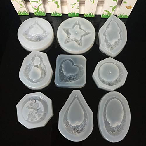 SQLang 9Pc Flower Butterfly Carved Jade Pendant Silicone Mold Resin Jewelry Earring DIY Carved Jade Butterfly Pendant