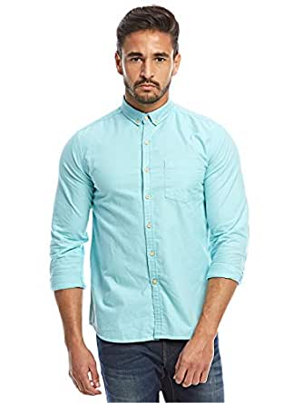 Flying Machine Sea Blue Shirt Neck Shirts For Men