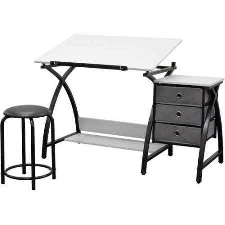 Studio Designs Silver/ Black Comet Center Drafting Table with Stool by Studio Designs
