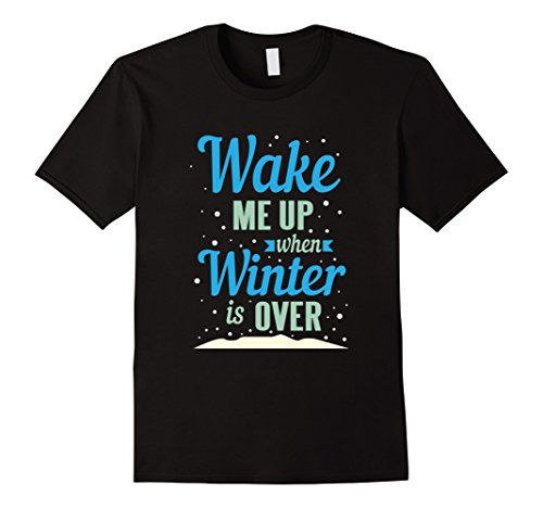 Mens Wake Me Up When Winter Is Over Funny Holiday Snow T-Shirt Medium Black
