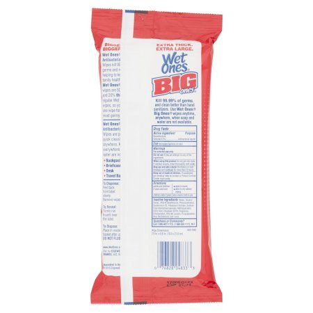 PACK OF 8 - Wet Ones Big Ones Antibacterial Hand Wipes Travel Pack - 24 Count by Wet Ones (Image #3)