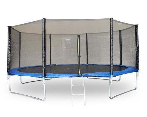 Gartentrampoline mit Sicherheitsnetz, Randabdeckung und Einstiegsleiter, Leiter Gartentrampolin Farbwahl (Blau)