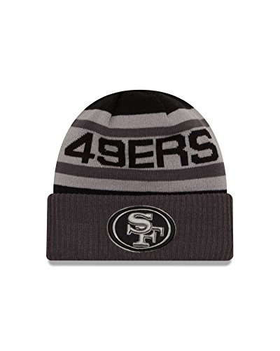 NFL San Francisco 49ers Unisex New Era NFL Black & Gray Biggest Fan 2.0 Cuff Knit Beanie , Black/Grey,One Size