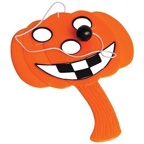 Lot Of 12 Halloween Pumpkin Jack O Lantern Design Mini Paddle Ball -