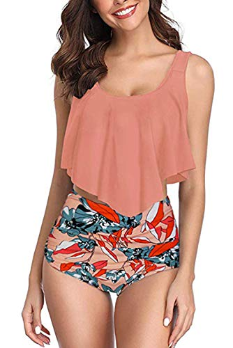 4ac137248c775 Adisputent Women's Two Piece Swimsuit Flounce Ruffles Swimwear Junior Vintage  Bathing Suit High Waisted Bottom Bikini Set (Dark Orange,M)