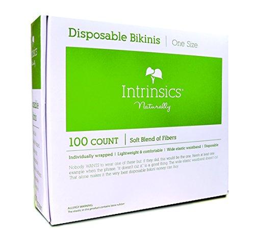 Intrinsics Disposable White Bikinis for Disposable Sunless Spray Tan / Waxing / Spa Treatment Bikini Universal Size - 100 (Disposable Bikini Panties)