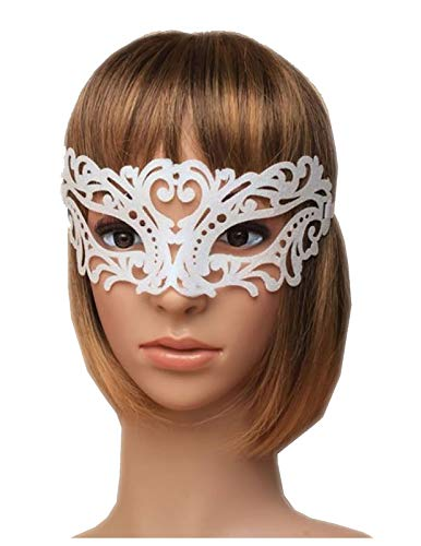 MA ONLINE Ladies Frosted Glitter Filigree Masquerade Mask Womens Hen Night Party Accessory