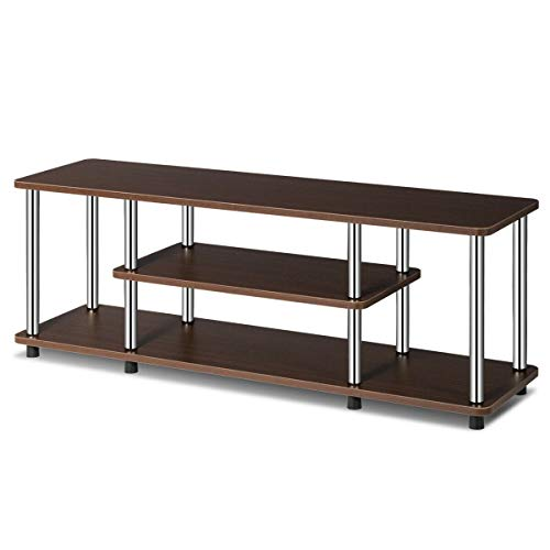 - FDInspiration Brown 3-Tier TV Storage Shelf Stand Stainless Steel Console Table EPA Listed Universal Stand Rack Display with Ebook