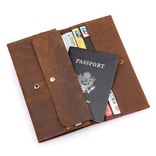 Passport Holder Vintage Genuine Leather RFID Blocking Checkbook Wallet Leather Money Clip Mens Bifold Long Wallet (Dark Brown)