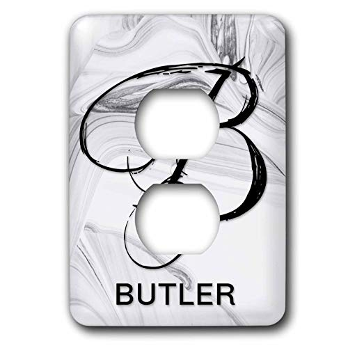 3dRose BrooklynMeme Monograms - White Marble Monogram B Butler - Light Switch Covers - 2 plug outlet cover ()