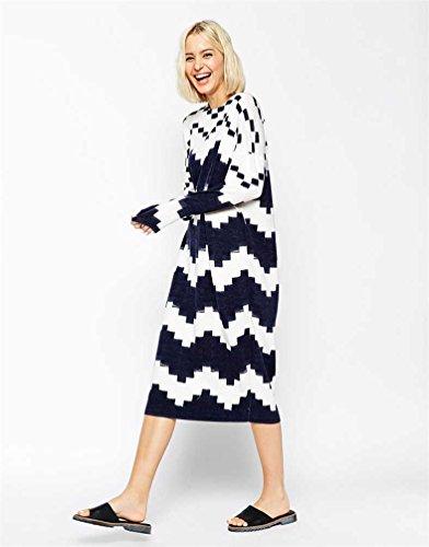 YOUJIA Vestido jersey punto Patrones geométricos Espesar Pullover largo para mujer talla única As Picture