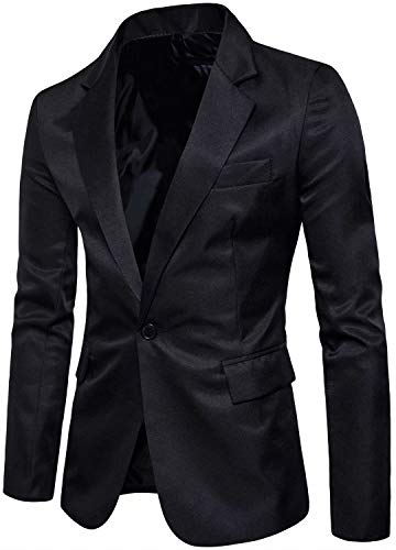 Men's Long Sleeves Peak Lapel Collar One Button Slim Fit Sport Coat Blazer, Black, L/42 = Tag 3XL (Collar Coat Club)