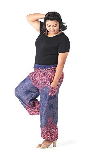 CandyHusky hippy Boho pantalones de harén Plus tamaño de impresión de plumas de pavo real Floral Mandala Purple