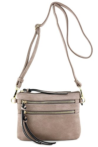 Multi Pocket Small Crossbody Bag Taupe