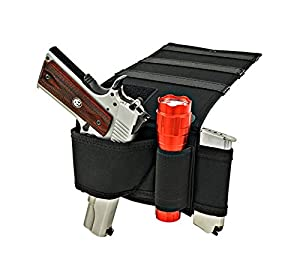 Shark GunLeather Adjustable Bed Mattress Gun Holster with Flashlight Loop & Magazine Holder - Fits All Medium to Large Frame Semi-Autos and Revolvers.