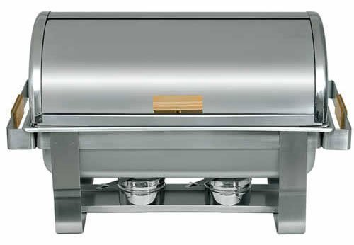 Update International (RTC-8) 8 Qt Stainless Steel Rectangular Gold-Accented Roll-Top Chafer by Update - Chafer Accented Roll Gold Top
