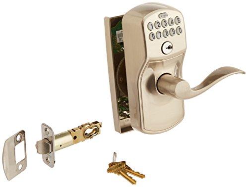 Schlage FE576 PLY 619 ACC CEN Built-in Alarm, Century Collection Keypad Accent Lever Door Lock, Satin Nickel