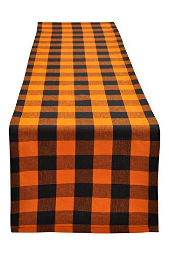 Yourtablecloth Buffalo Plaid Checkered Table Runner Trendy & Modern Plaid Design 100% Cotton Tablerunner Elegant Décor for Indoor&Outdoor Events 14 x 72 Orange and Black