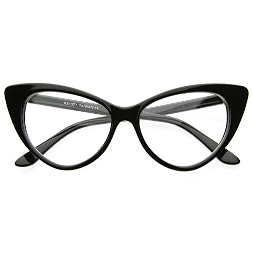 - AStyles - Super Cateyes Vintage Inspired Fashion Mod Chic High Pointed Cat Eye Sunglasses Glasses (Black Clear)
