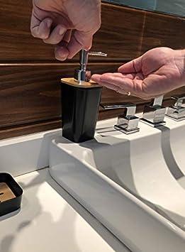 Hand Sanitizer Bottle Kralix Bathroom Set 6 Pieces Plastic Bathroom Accessories Toothbrush Holder Rinse Cup Soap Dish Waste Bin Toilet Brush with Holder Black