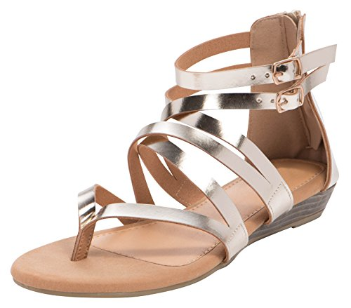 Cambridge Select Womens Open Toe Crisscross Buckled Ankle Strappy Low Wedge Sandal Champagne Pu qlnWwboNx