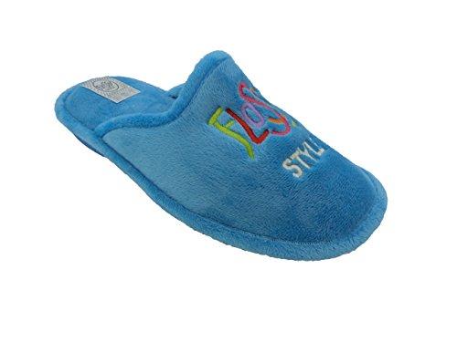 Zapatillas de estar por Casa para Mujer Flossy mod.3235. Calzado Made in Spain, Garantia de Calidad. Azul Celeste