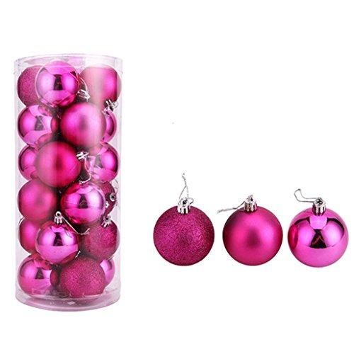 Tuscom 24Pcs Christmas 5CM Balls Baubles Party Xmas Tree Decorations Hanging Ornament Decor (HOT Pink)