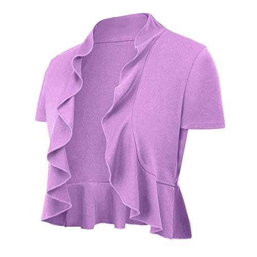 Women's Open Front Cropped Short Sleeve Cardigan Lightweight Draped Ruffle Bolero Shrugs for Dresses Purple X-Large(14-16)