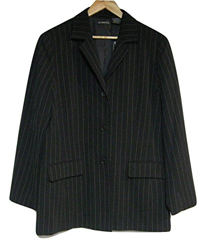 Lined Pinstripe Blazer (George Longer Length Blazer-Lined-Black with Pinstripes-Size 9/10)
