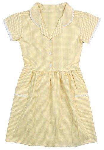 Girls Gingham School Dress Ex Store Blue Red Yellow Green 3-4 up to 11-12 yerars (Yellow, 11-12 Years)