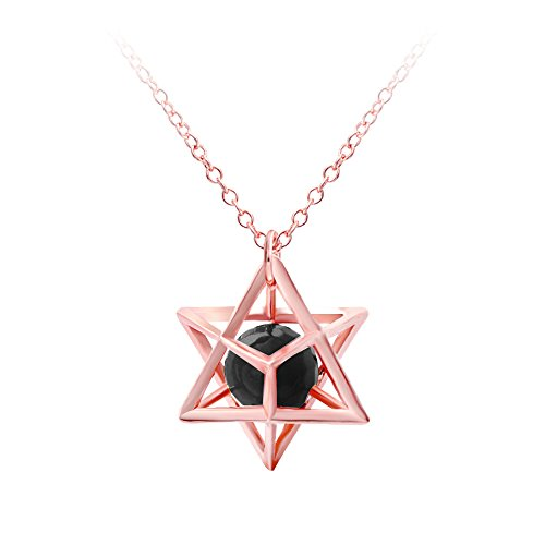 SENFAI Fashion Eight Pointed Star Pendant Necklace Gold Color 3D Geometry Star with Natural Stone Necklace for Women Girls (Style (3 Stone Gold Necklace)