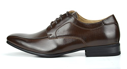 BRUNO MARC NEW YORK Bruno Marc Mens Leather Lined Snipe Toe Dress Oxfords Shoes 5-dark Brown vtt6NZoJCi