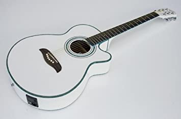 Nueva Oscar Schmidt og10cewh blanco tamaño concierto acústico guitarra eléctrica: Amazon.es: Instrumentos musicales