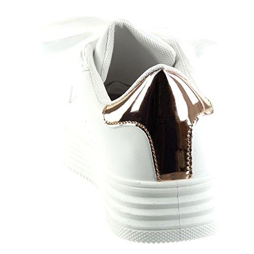 Scarpe Raso Piatto in Tacco 4 cm Tacco Champagne Sneaker Angkorly Donna da Zeppe Lacci Moda Tennis Lucide 4wF4dT
