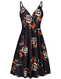 Women's V Neck Floral Spaghetti Strap Summer Casual Swing Dress with Pocket