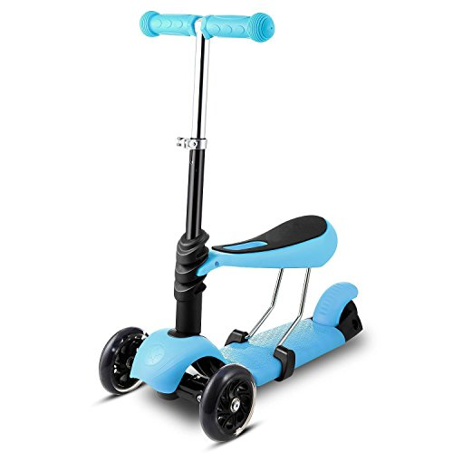 Meoket Scooter for Kids - Deluxe 3-in-1 3-Wheel Mini Kick Scooter, Removable Seat, Adjustable Handlebar, LED Flashing Wheels (Blue)