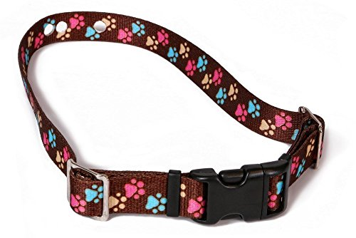 Replacement Receiver Collar Straps For All Brands Electric Dog Fences | Brown With Colorful Paws | PetSafe, Invisible Fence, More (Up To 18