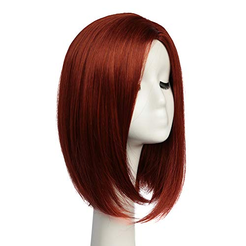 AYSAN Short Red Bob Synthetic Wigs Straight Cosplay Wigs for Women Ladies Full Hair Wig for Daily Wear Halloween Party (Red) ()