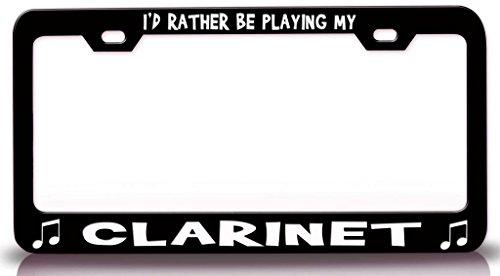 I 'd Rather Be Playing Mi Clarinete con la música nota Acero Metal Licencia Marco de la placa Negro